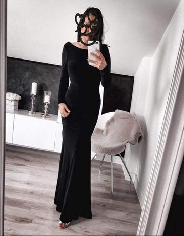 Długa czarna sukienka odkryte plecy dior la imprezę