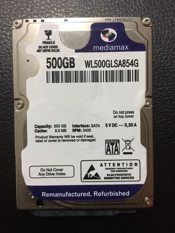 Жёсткий диск на 500Gb Mediamax для ноутбука