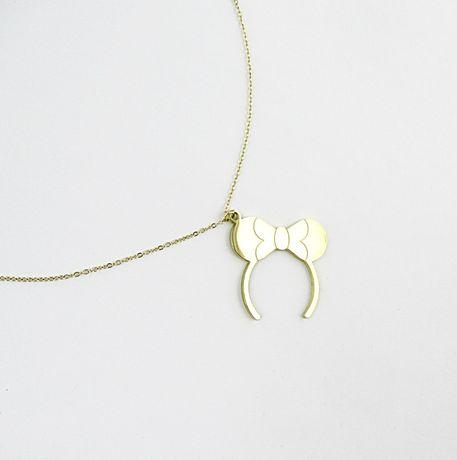 Naszyjnik stal chirurgiczna złoty długi opaska miki kokarda HIT N756