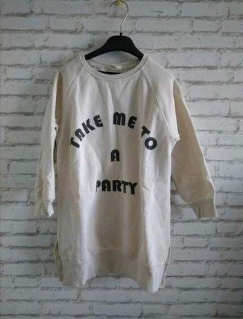 Długa bluza 128 dla dziewczynki sukienka tunika Zara