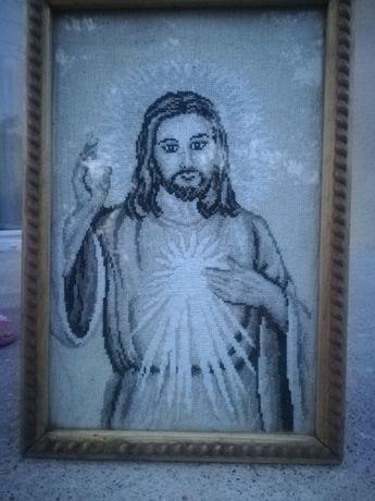 Obraz pana Jezusa haftowany
