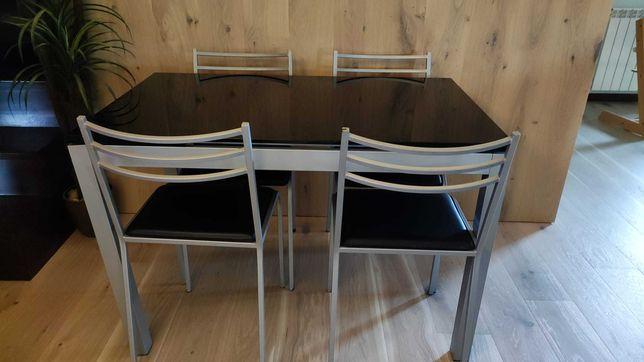 Mesa de Cozinha c/ tampo de vidro - 4 cadeiras