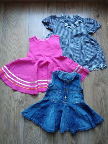 Sukienki letnie 3 szt. Rozm. 68, 74 oraz 86