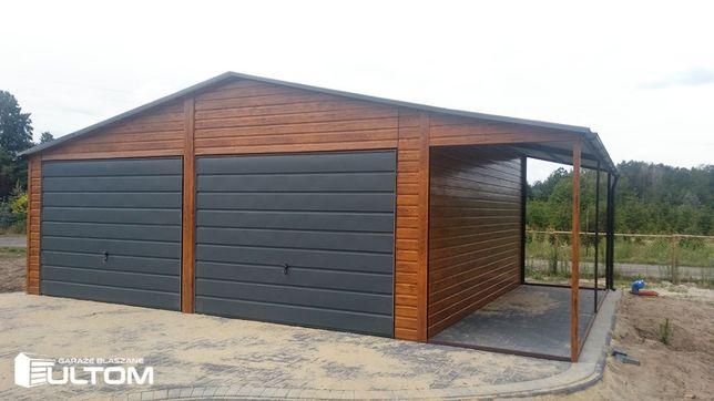 Garaż blaszany z wiatą drewnopodobny GRATIS szeroki poziomy panel