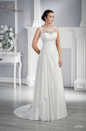 Suknia ślubna Alina z trenem, welonem