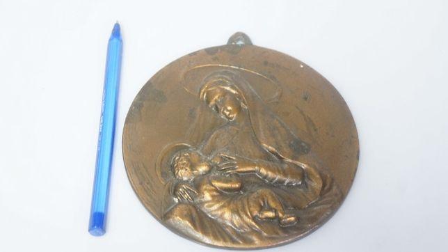 MIEDZIANY masywny relief matka z dzieciątkiem