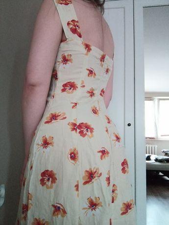 Piękna, żółta retro sukienka w kwiaty letnia