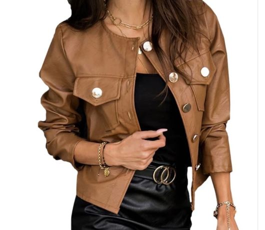 Куртка бомбер ,екокожа коричнева,стильна модна ,весняна.