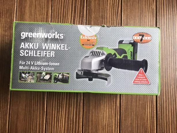 Аккумуляторная угловая шлифовальная машина Greenworks 24 Вбез аккумуля