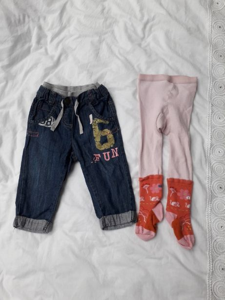 ZESTAW modne spodnie jeansowe joggery NEXT + rajtuzy świnka peppa r.80