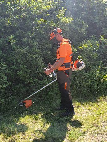 Prace ogrodnicze, koszenie trawy, cięcie drzewa, rębak, wycinka drzew.