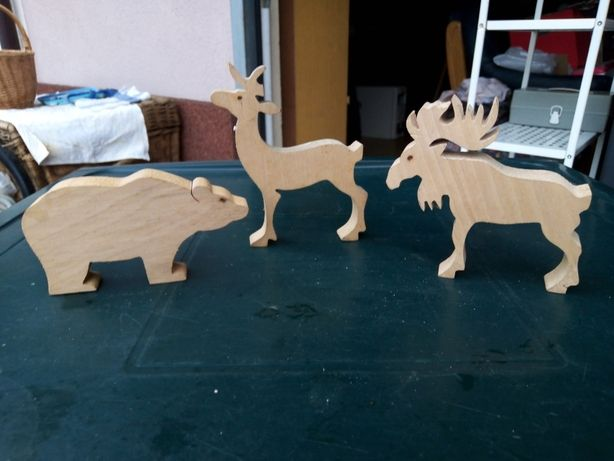 Produkt 233. Drewniane zwierzęta Łoś, Jeleń, Niedźwiedź