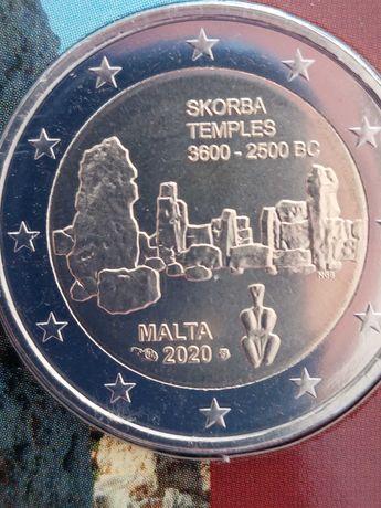 moeda 2 Euros comemorativa Malta 2020 com MINTMARK