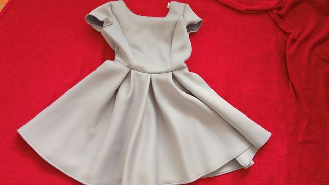 Szara piankowa sukienka gołe plecy vubu M