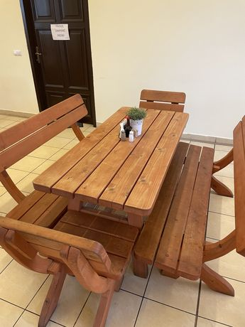 Ława stol krzesla zestaw drewniany meble ogrodowe