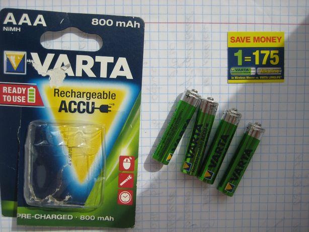 Оригинальные аккумуляторы блистер Varta Max AAA 800 мАч Ni-MH