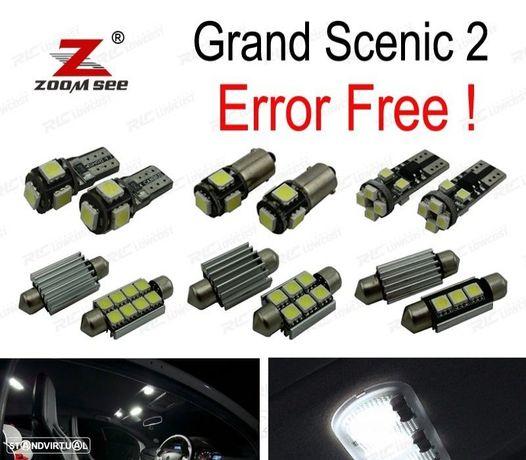 KIT COMPLETO DE 18 LÂMPADAS LED INTERIOR PARA RENAULT GRAND SCENIC II 2 MK2 2004-2009