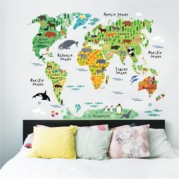 Наклейка на стену. Карта мира. Животные