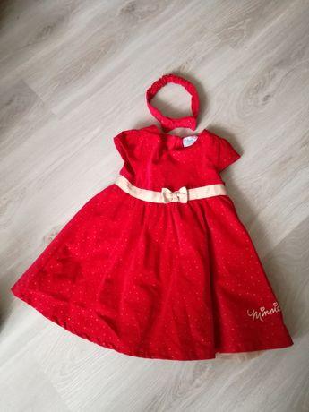 Sukienka dla dziewczynki Cool Club Myszka Minnie + opaska