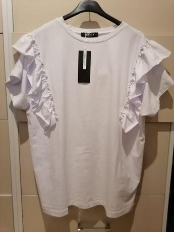 Bluzka falbanka perełki biała