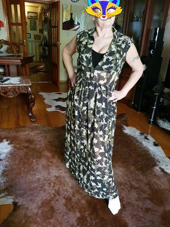 Платье камуфляж, стразы, длинное