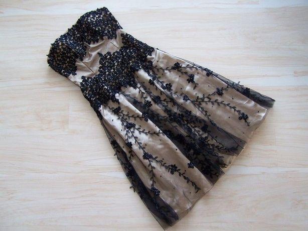 koronkowa sukienka z tiulem 38M rozkloszowana suknia balowa midi