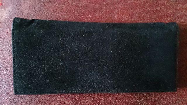 Винтажный замшевый черный клатч (театральная сумочка)