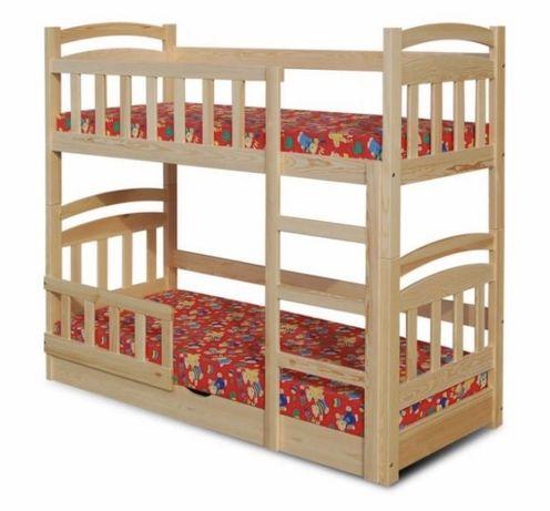 Łóżko piętrowe dla dzieci MICHAŁ pojemnik i materace w zestawie