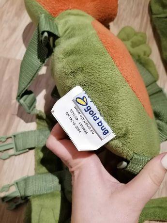 Plecak ze smyczą dinozaur plecak do nauki chodzenia gold bug