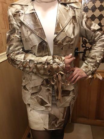 Костюм кожаный, пиджак , кожаная юбка