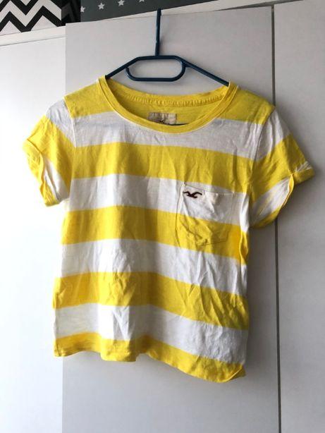 Żółto-biała koszulka w paski HOLISTER
