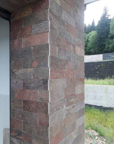 płytki łupek Brown 30x10 naturalne elewacja ściana kominek