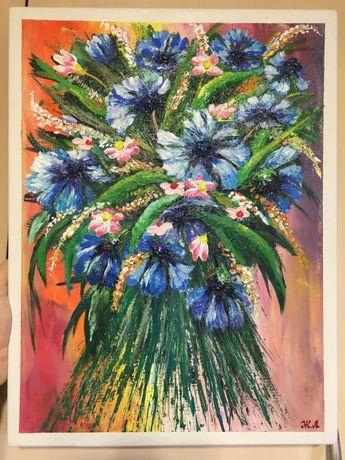 Полевые цветы картина акрил 30»40