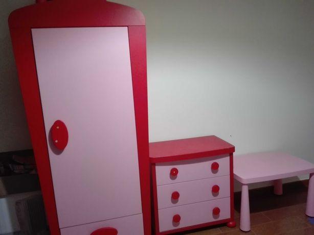 Mobília quarto criança rosa e vermelha (completa ou separada)