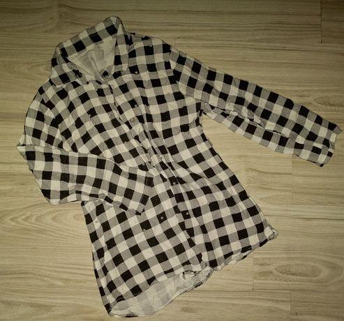 Koszula w kratę ,koraliki XS