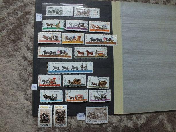 16szt. znaczki 1965/1986r.,KONIE,Powozy kasowane,klej Zwierzęta Fi1495