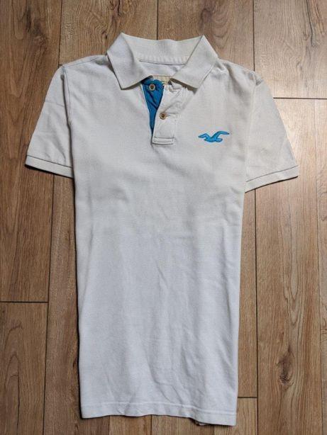 Hollister byAbercrombie POLO idealna biała Logo koszulka męska L XL