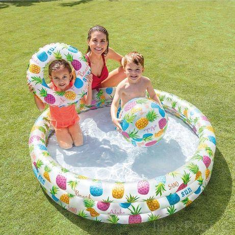 Детский надувной бассейн Intex, 132 х 28 см, с мячом и кругом, басейн