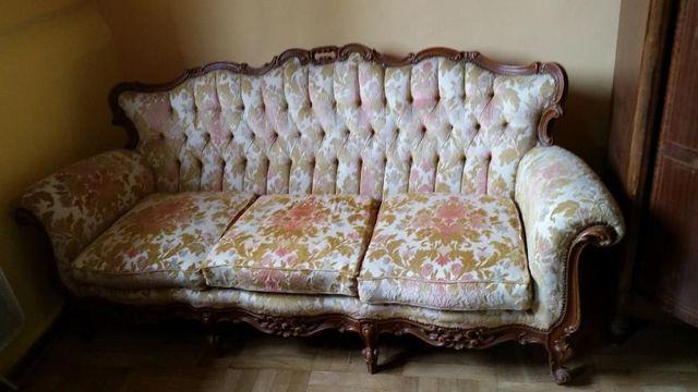 Francuska stylowa Sofa z dwoma fotelami plus łoże- oryginał