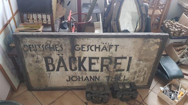 Tablica przedwojenna blaszana niemiecka okupacyjna piekarnia lwów lviv