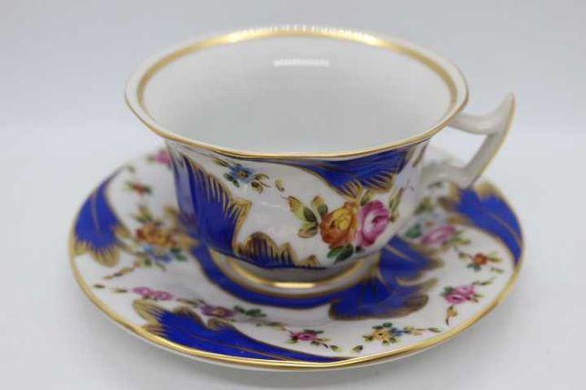 Chávena Chá Vista Alegre facetada Azul Floral Pintada Mão 1980