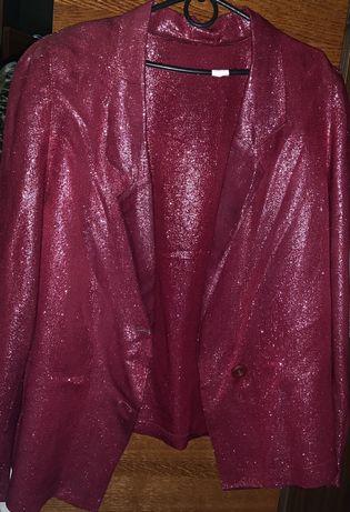 Пиджак вишневого цвета с серебристой нитью L-Xl 50/52