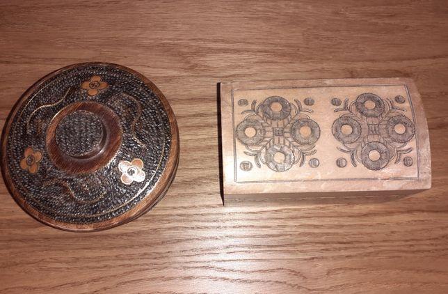 drewniane szkatułki puzderko rękodzieło cepelia PRL