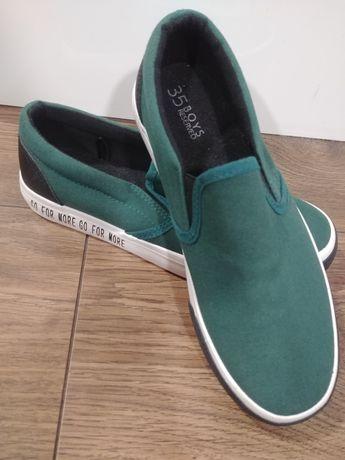 Reserved 35 buty zielone tenisowki wsuwane nowe