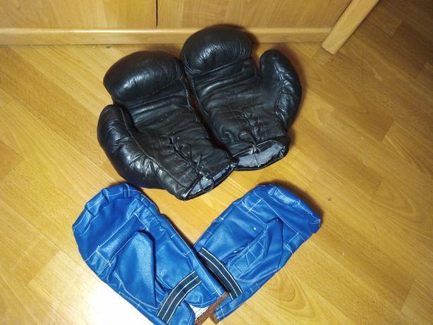 Кожаные боксёрские перчатки + битки кожзам в подарок!