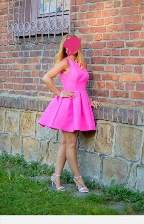 Sukienka rozkloszowana różowa