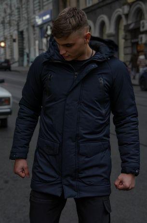 Зимняя куртка Парка мужская пальто пуховик чоловiча зимова -30С черная