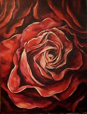 "Картина маслом на холсте, живопись ""Роза"""