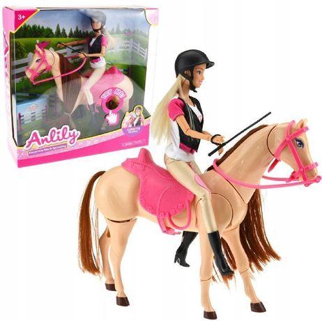 Lalka Anlily Barbie Dżokejka Z Koniem Kroczący Galopujący Koń
