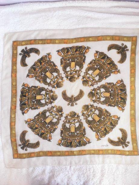 Винтажный ситцевый платок шов роуль